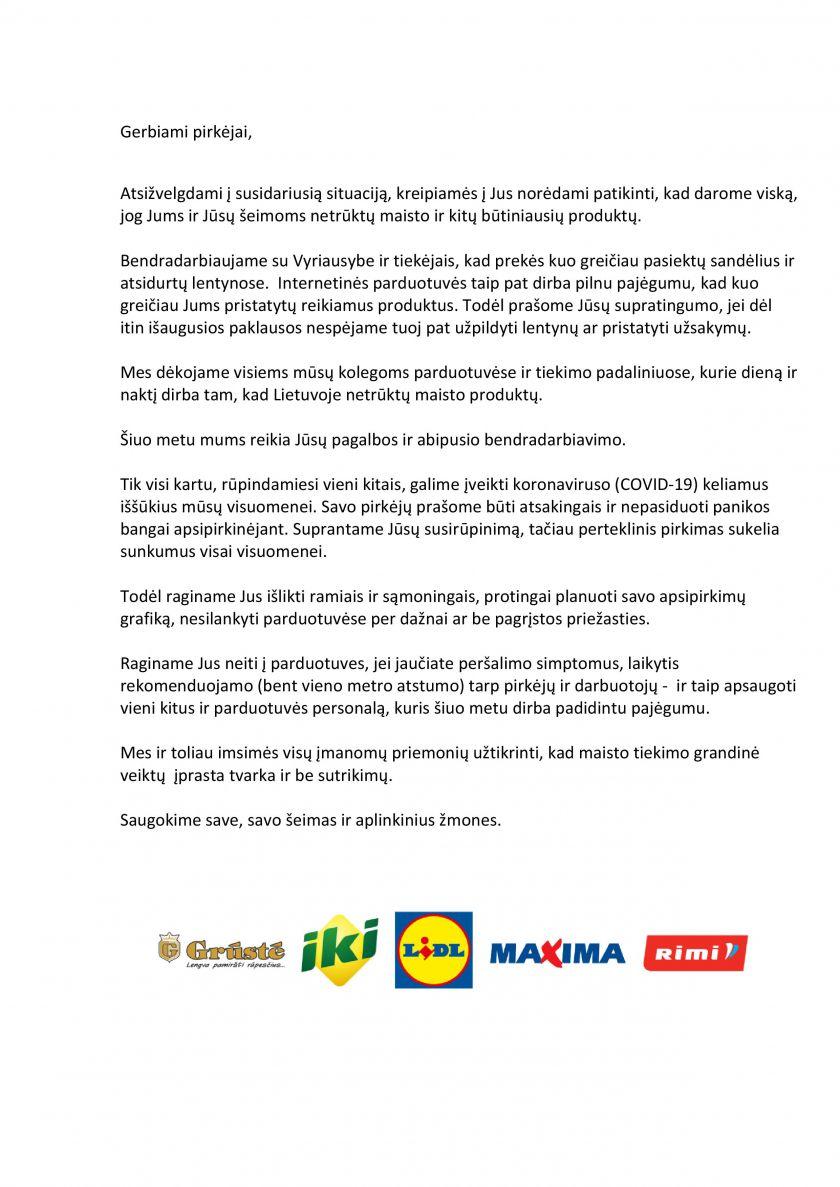 Lietuvos prekybos įmonių asociacijos narių kreipimasis į pirkėjus