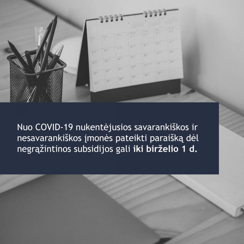 Nuo COVID-19 nukentėjusioms savarankiškoms ir nesavarankiškoms įmonėms – savaitė laiko pateikti paraišką dėl subsidijos